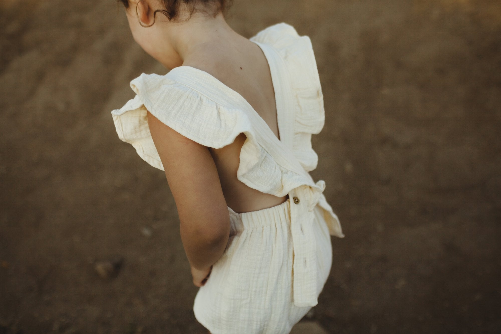 Fin and Vince - Ruffle Playsuit (Gauze - Buttercream)