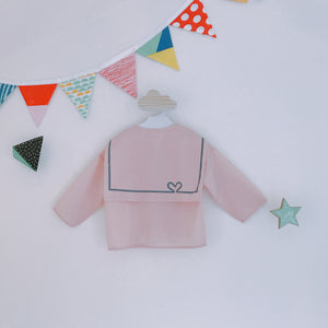 Sailor Heart Zip Cardi - Pink