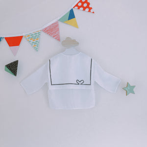 Sailor Heart Zip Cardi - White
