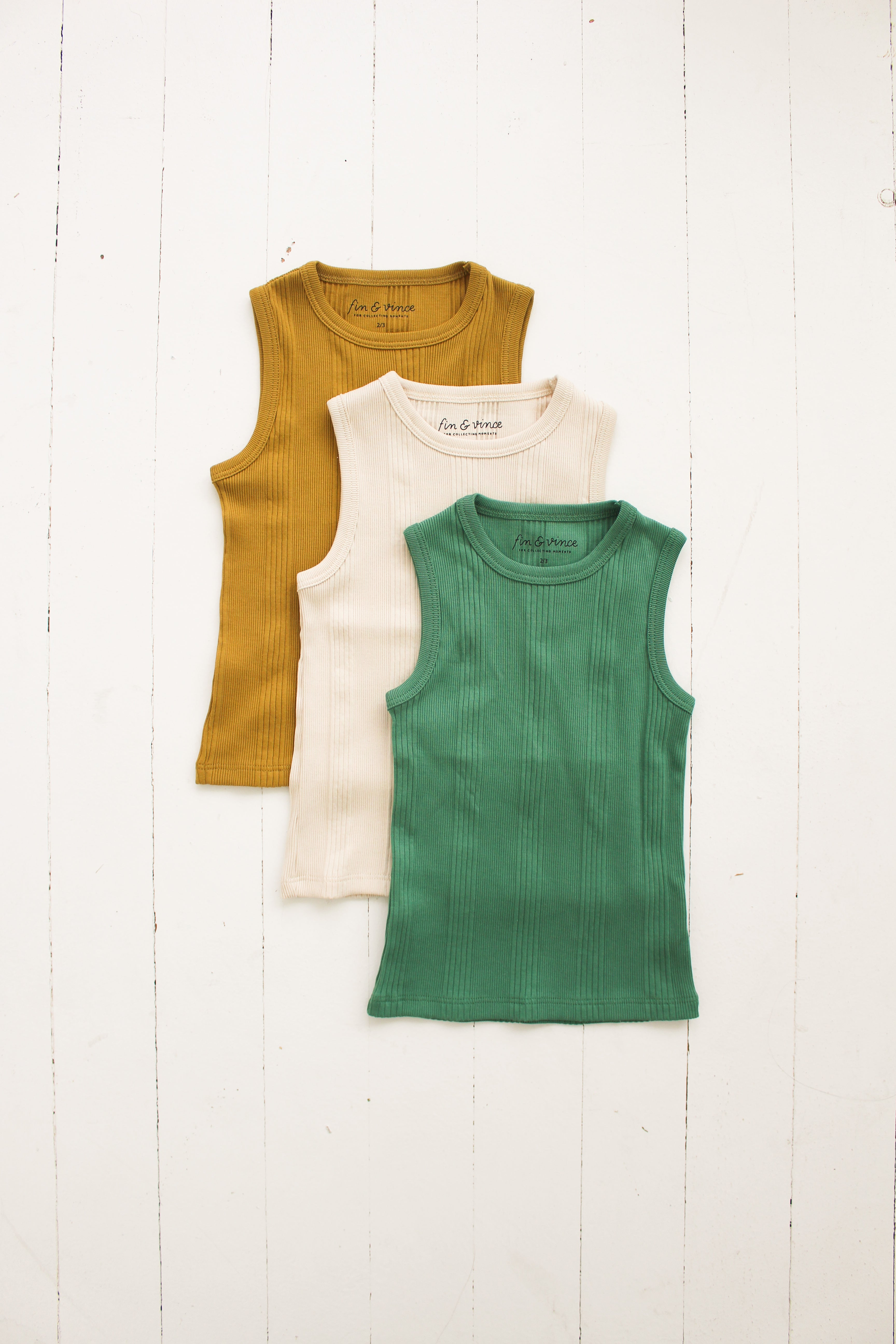 Fin and Vince - Singlet Tank (Schoolhouse Green) - Last 12/24