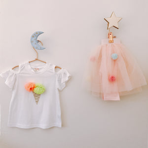 Poms & Ice-Cream Tee - White