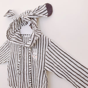 Striped Rabbit Hoodie - Raven