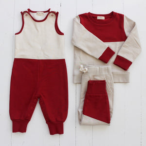 Fin and Vince - Colorblock Jogger (Crimson|Oatmeal) - Only 4/5