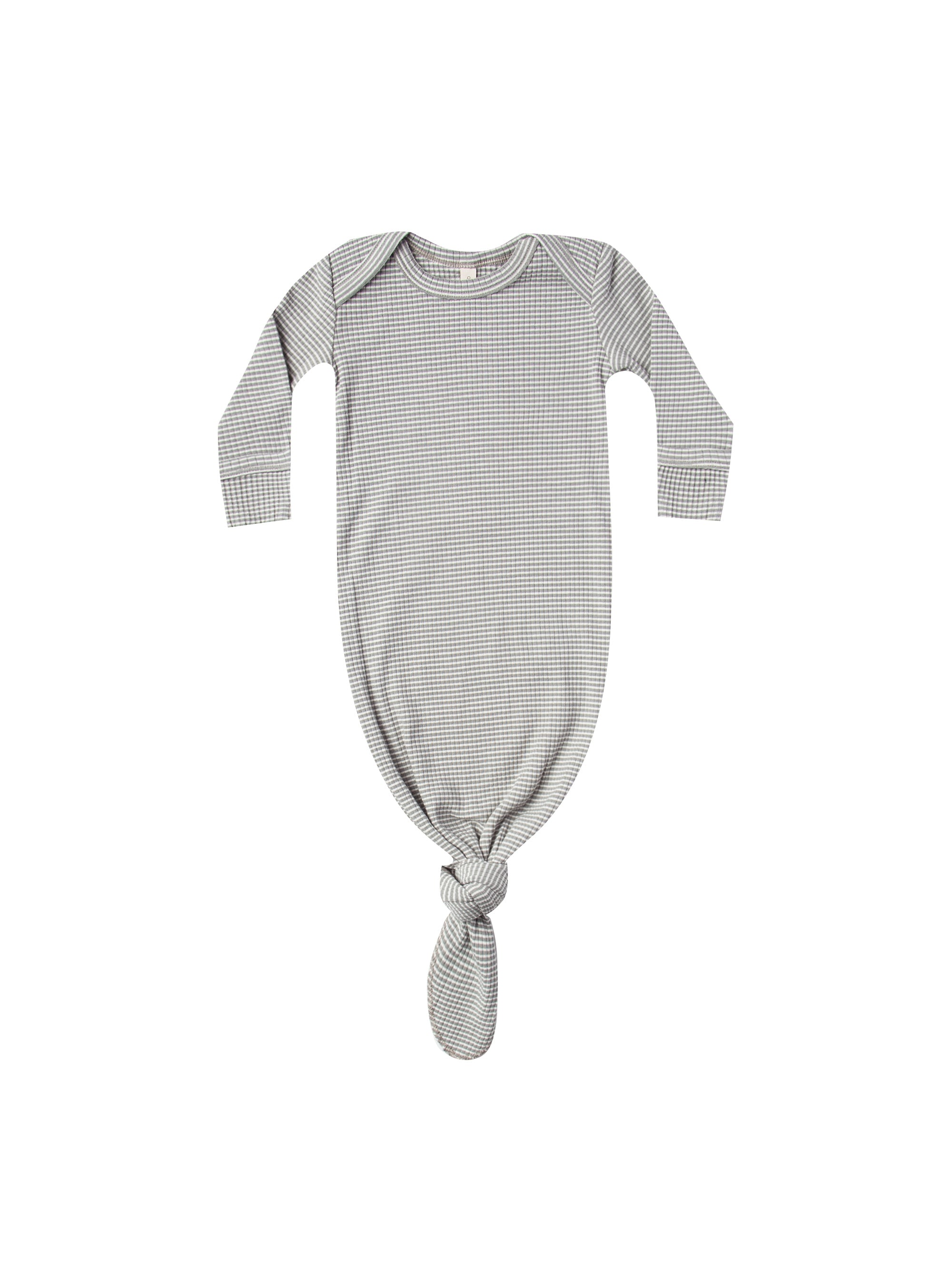 Quincy Mae - Ribbed Knotted Baby Gown (Eucalyptus Stripe)