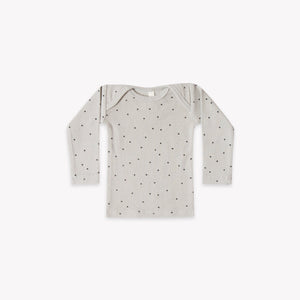 Quincy Mae - Ribbed Lap Tee (Dove Dots)