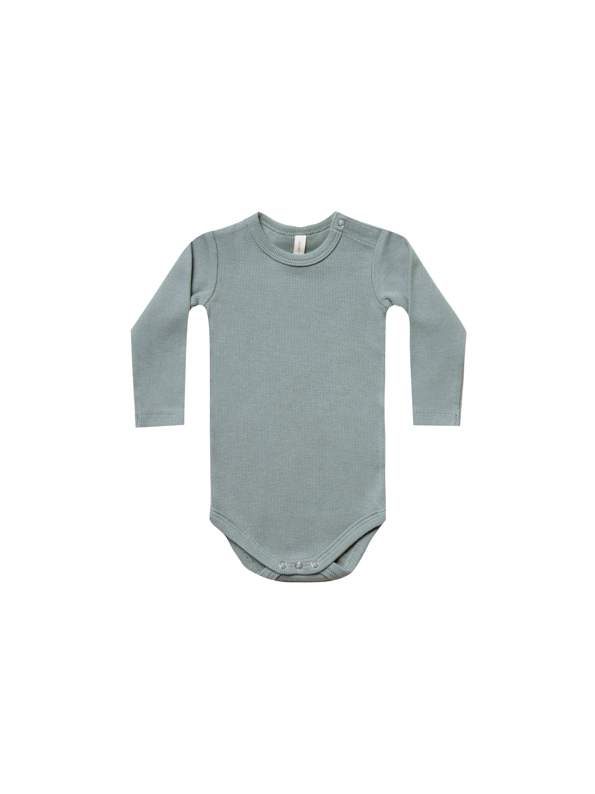 Quincy Mae - Ribbed Longsleeve Onesie (Sea)