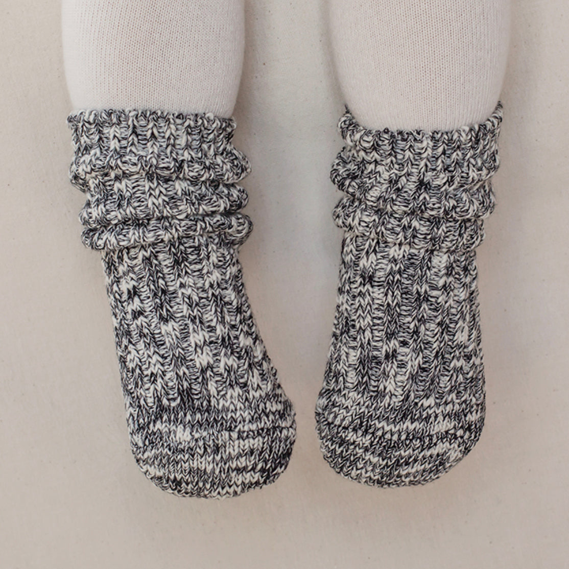 Cotton Heather Socks Cozy Black Hello Little Page
