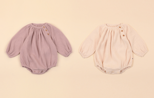 Button Gauze Romper - Cloud