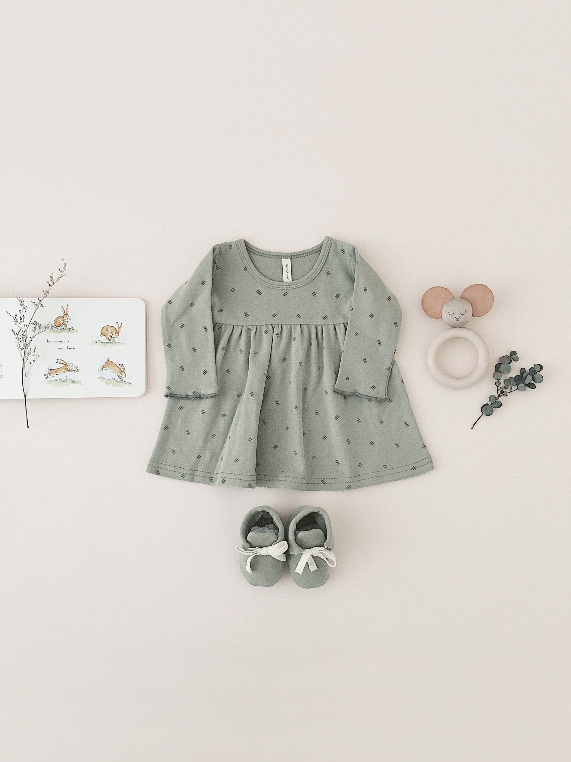 Quincy Mae - Baby Dress (Sage)