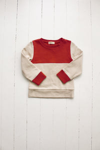 Fin and Vince - Colorblock Pullover (Crimson|Oatmeal) - Last 6/12