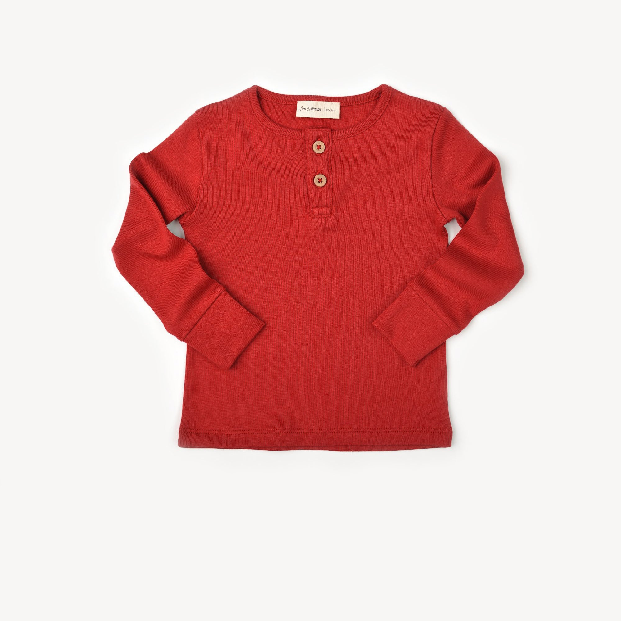 Fin and Vince - Henley Top (Crimson)