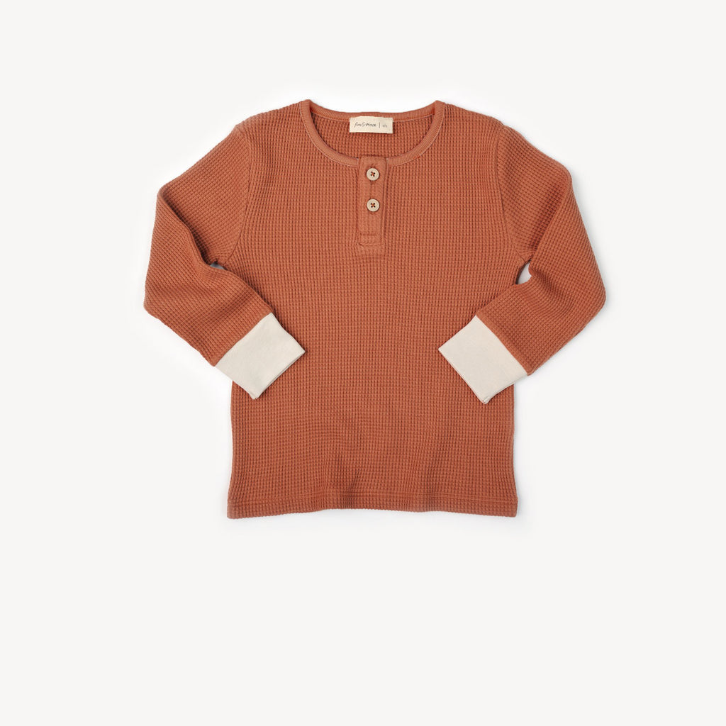 Fin and Vince - Henley Top (Waffle Terra-Cotta)