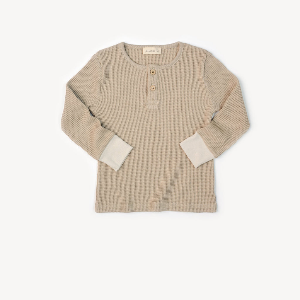 Fin and Vince - Henley Top (Waffle Almond)