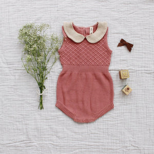 Fin and Vince - Knit Collar Romper (Dusty Rose)