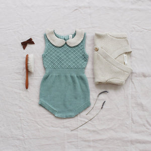 Fin and Vince - Knit Collar Romper (Moss)