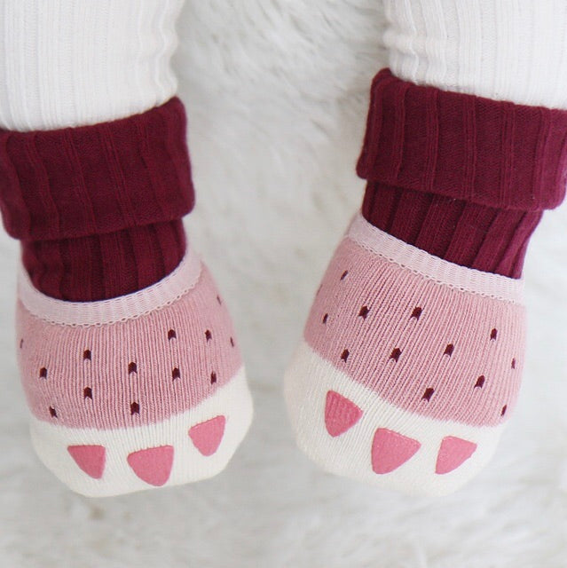 Double Paw Socks - Rose