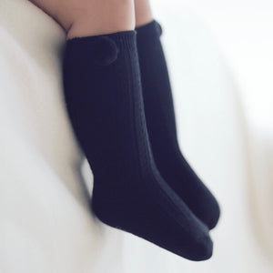 Cable Pom Socks - Black