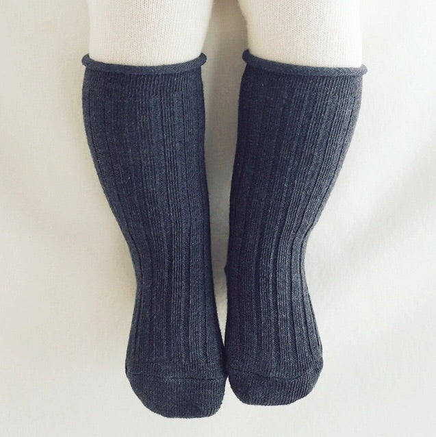 Spruce Rolling Knee Socks - Charcoal