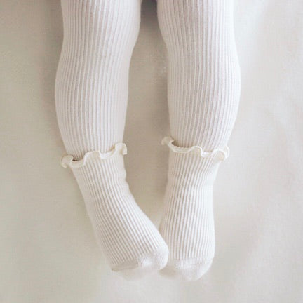 Ruffle Ribbed Leggings + Socks - Ivory
