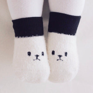 Fluffy Face Socks - B/W