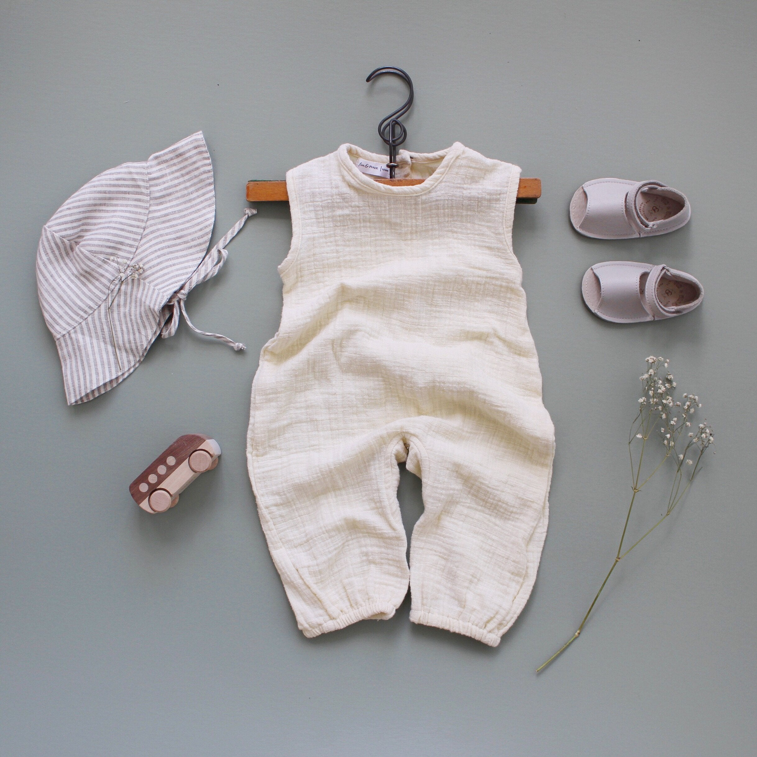Fin and Vince - Tank Romper (Gauze - Buttercream) - Last 6/12