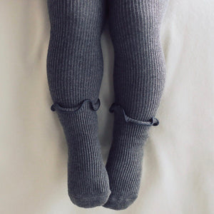 Ruffle Ribbed Leggings + Socks - Charcoal
