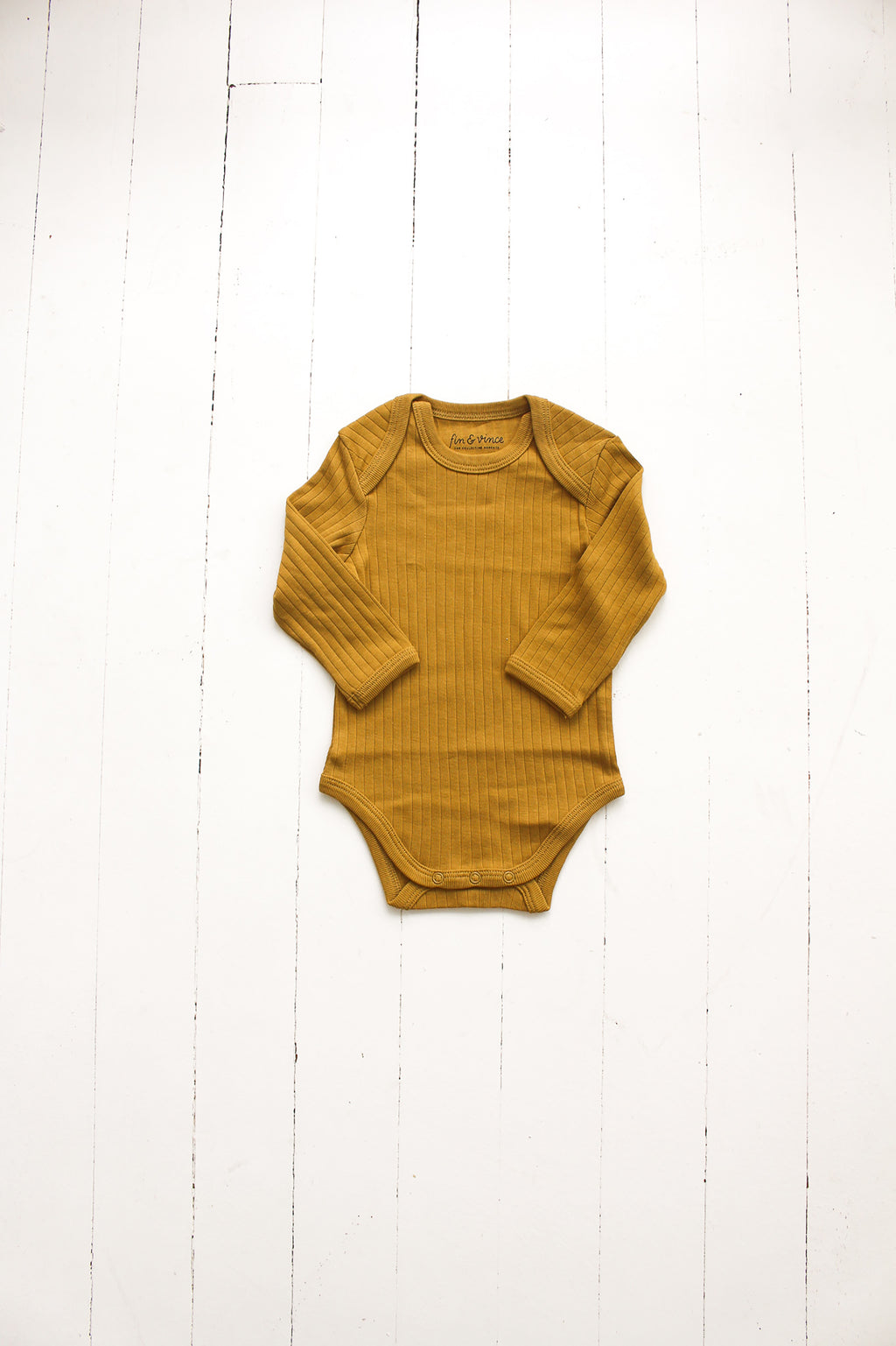Fin and Vince - Long Sleeve Onesie (Mustard)