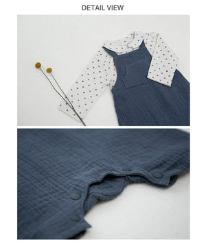 Dotty Navy Gauze Overall