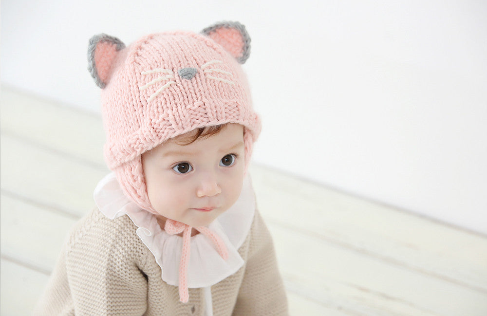Kitty Pink Knit Hat