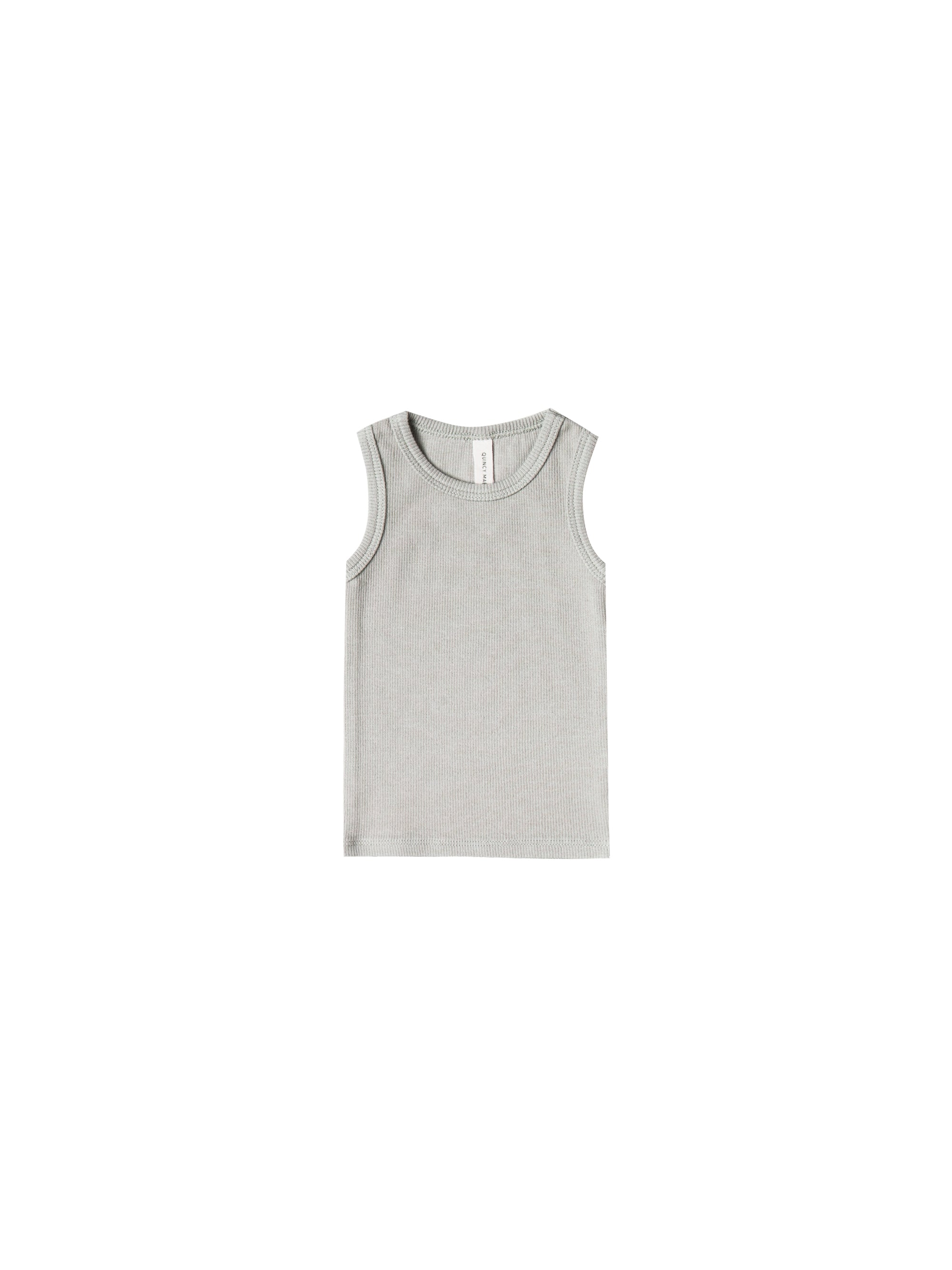 Quincy Mae - Ribbed Tank (Ash) - Only 0/3 & 6/12
