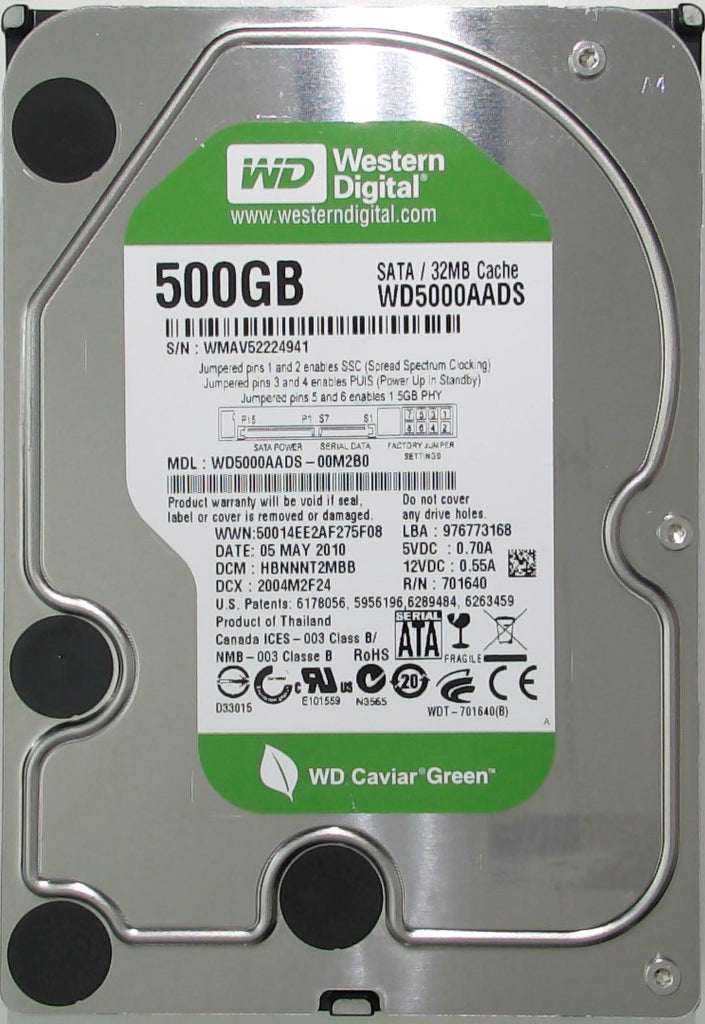 Western Digital WD5000AADS-00M2B0, HBNNNT2MBB, Thailand, 500GB, 2060-701640-007 REV A, 3.5'' Hard Drive with Bad Sectors