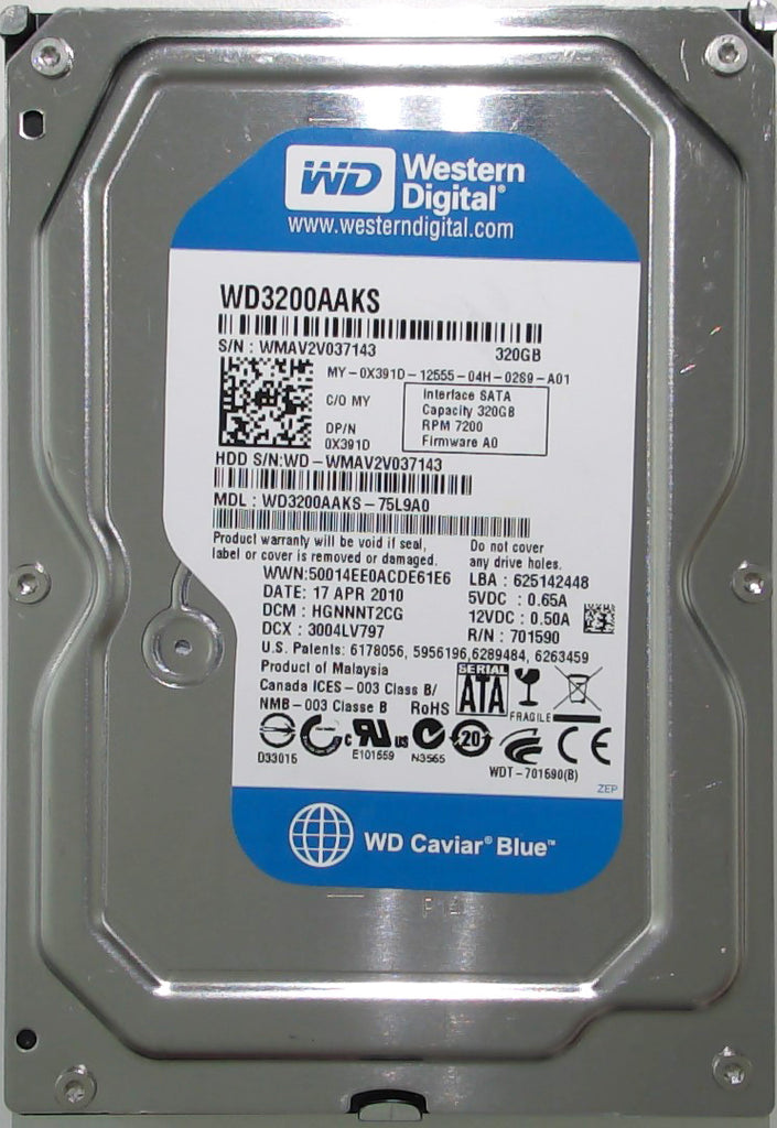 Western Digital WD3200AAKS-75L9A0, HGNNNT2CG, Malaysia, 320GB, 2060-701590-001 REV A, 3.5'' Hard Drive with Bad Sectors