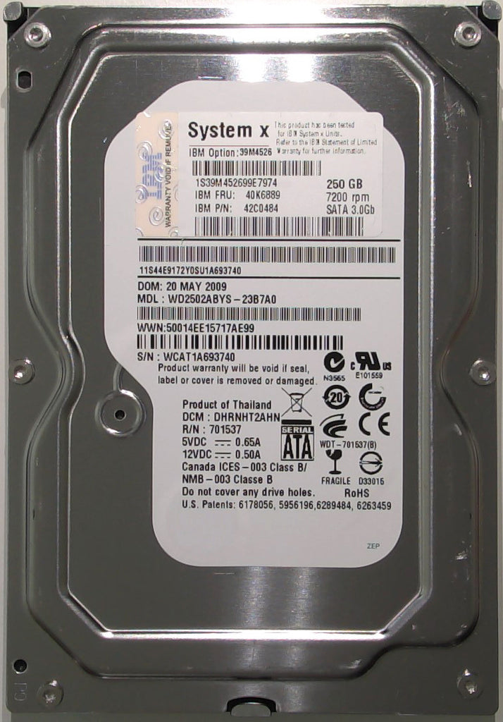 Western Digital WD2502ABYS-23B7A0, DHRNHT2AHN, Thailand, 250GB, 3.5'' SATA Hard Drive with Bad Sectors