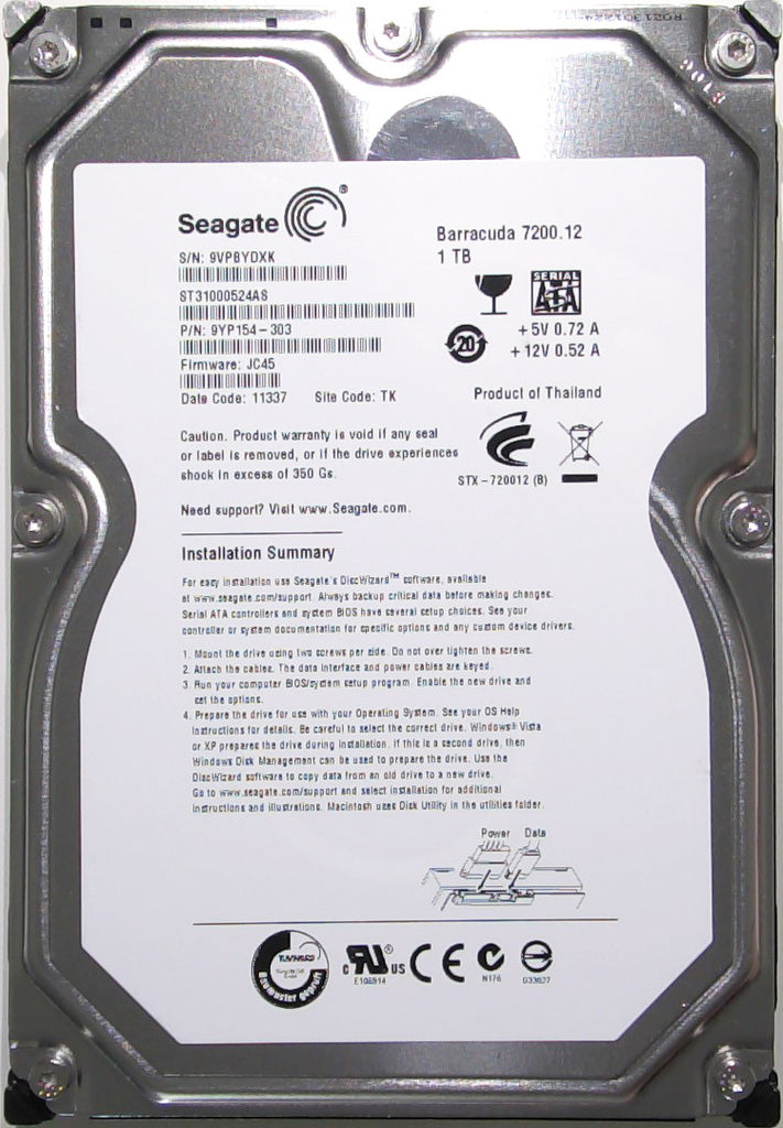 Seagate ST31000524AS, 9YP154-303, 9VP, JC45, TK, 1TB, 3.5'' Hard Drive