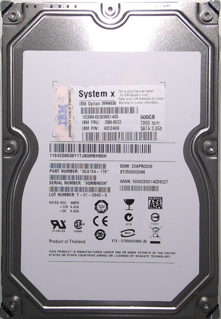 Seagate ST3500320NS, 9CA154-176, 9QM, 500GB, 3.5'' Hard Drive with Bad Sectors