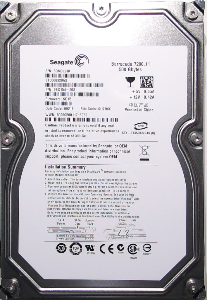 Seagate ST3500320AS, 9BX154-303, 6QM, SD15, SUZHSG, 500GB, 3.5'' Hard Drive