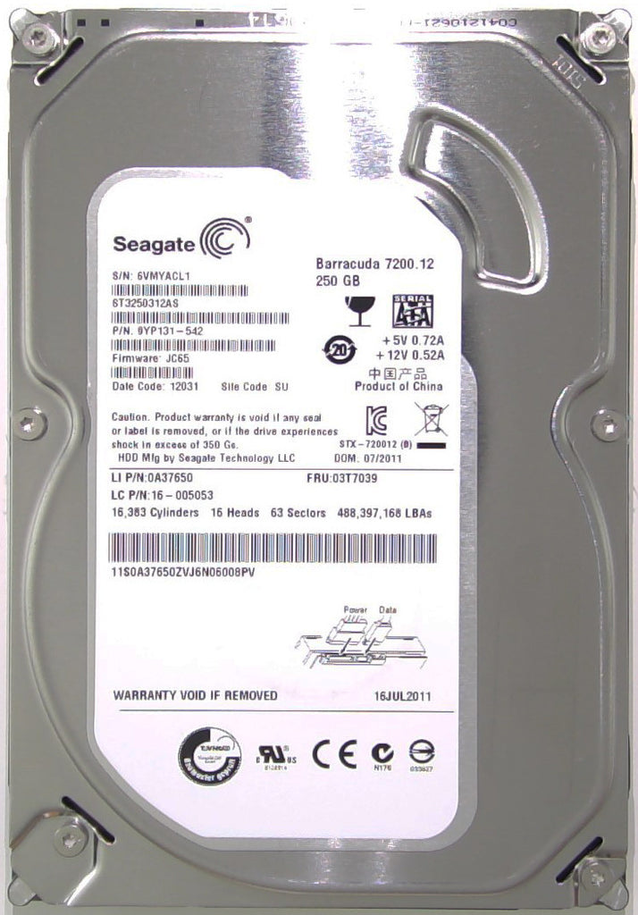 Seagate ST3250312AS, 9YP131-542, 6VM, JC65, SU, 250GB, 3.5'' Hard Drive