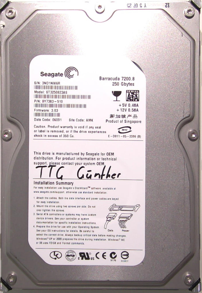 Seagate ST3250823AS, 9Y7383-510, 3ND, 3.03, AMK, 250GB, 3.5'' SATA Hard Drive