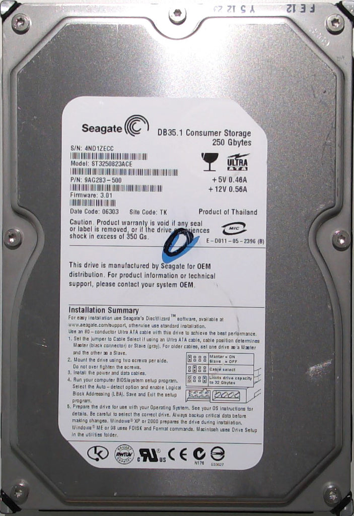 Seagate ST3250823ACE, 9AG283-500, 4ND, 3.01, TK, 250GB, 3.5'' IDE Hard Drive with Bad Sectors