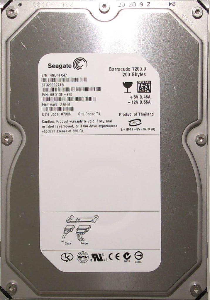 Seagate ST3200827AS, 9BD13E-620, 4ND, 3.AHH, TK, 200GB, 3.5'' SATA Hard Drive