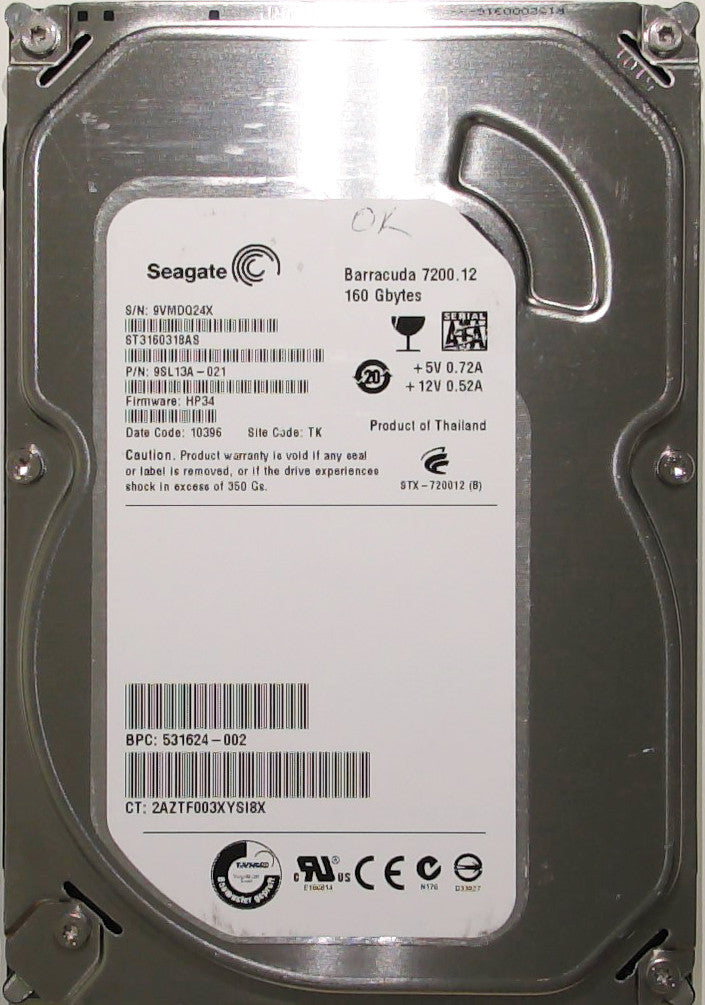 Seagate ST3160318AS, 9SL13A-021, 9VM, HP34, TK, 160GB, 3.5'' SATA Hard Drive