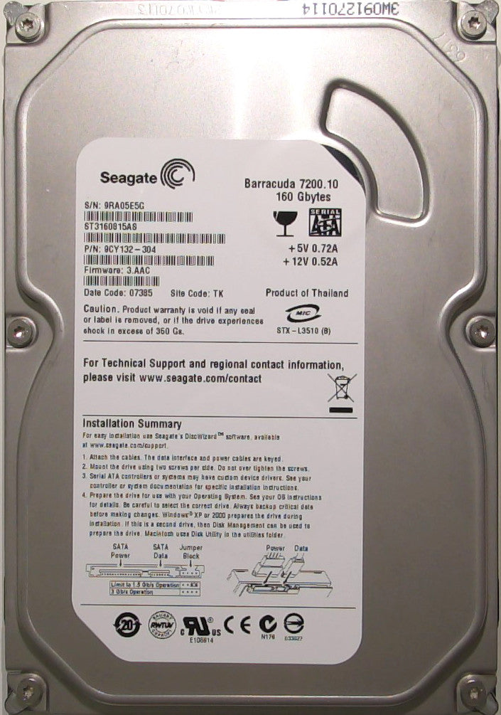 Seagate ST3160815AS, 9CY132-304, 9RA, 3.AAC, TK, 160GB, 3.5'' SATA Hard Drive