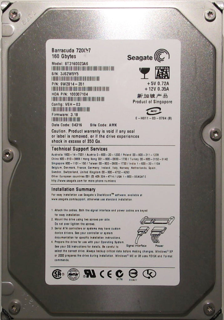 Seagate ST3160023AS, 9W2814-351, 3JS, 3.18, AMK, 160GB, 3.5'' SATA Hard Drive