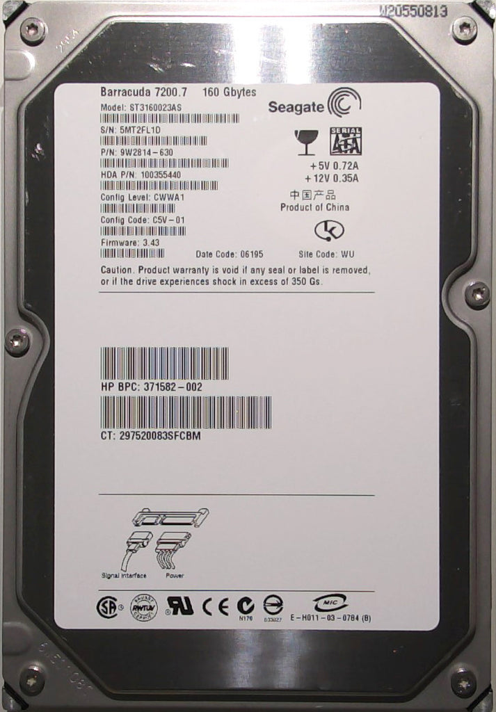 Seagate ST3160023AS, 9W2814-630, 5MT, 3.43, WU, 160GB, 3.5'' SATA Hard Drive