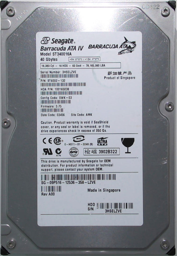 Seagate ST340016A, 9T6002-132, 3HS, 3.75, AMK, 40GB, 3.5'' IDE Hard Drive