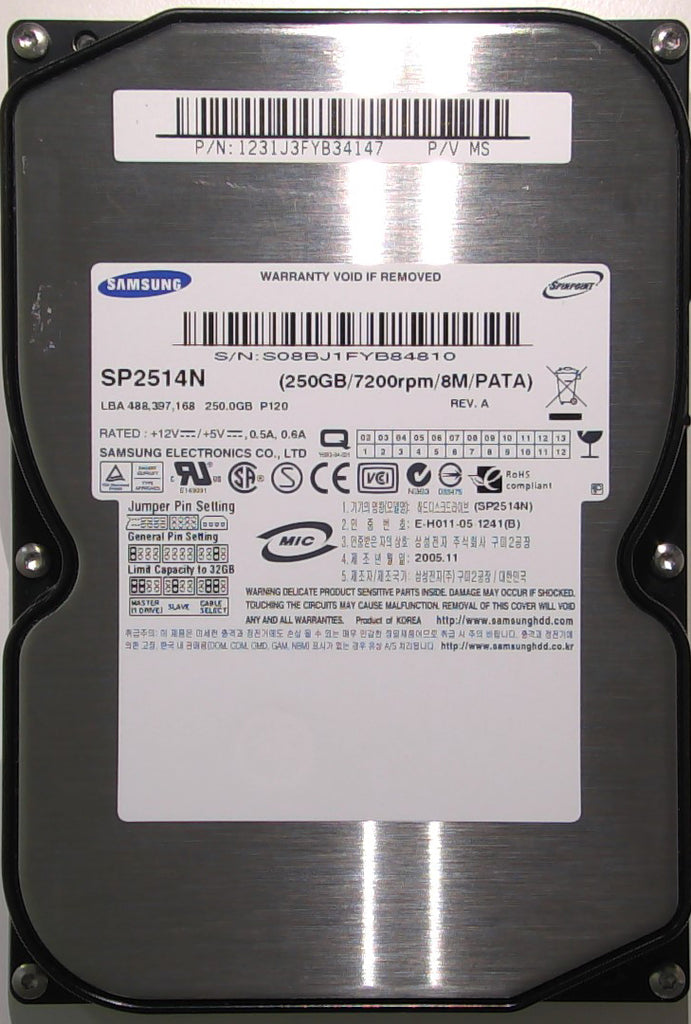 "Samsung SP2514N, VF100-33, B41-00085A, 250GB, 3.5"" IDE Hard Drive"