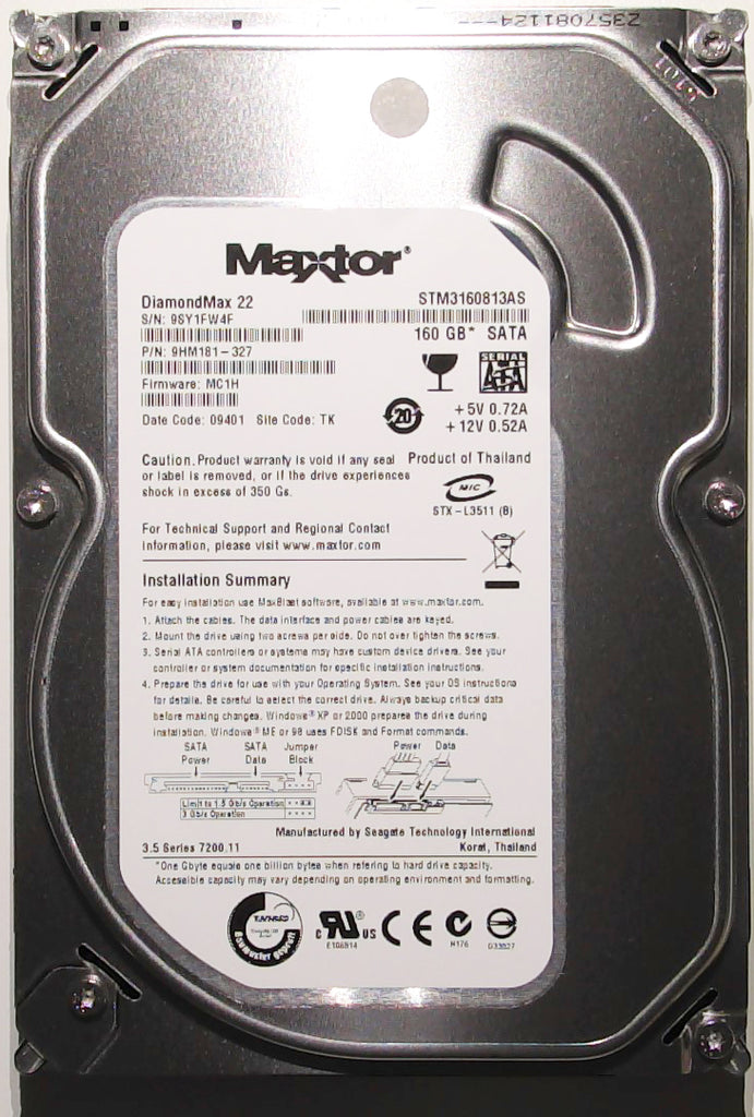 "Maxtor STM3160813AS, 9SY, 9HM181-327, MC1H, TK, 160GB, 3.5"" SATA Hard Drive"