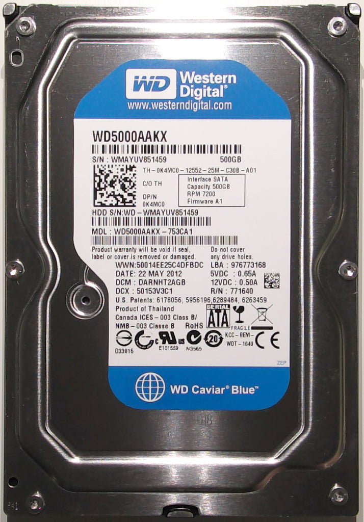 Western Digital WD5000AAKX-753CA1, DARNHT2AGB, 22 MAY 2012, Thailand, 2060-771640-003 REV A, 500GB, 3.5'' Hard Drive