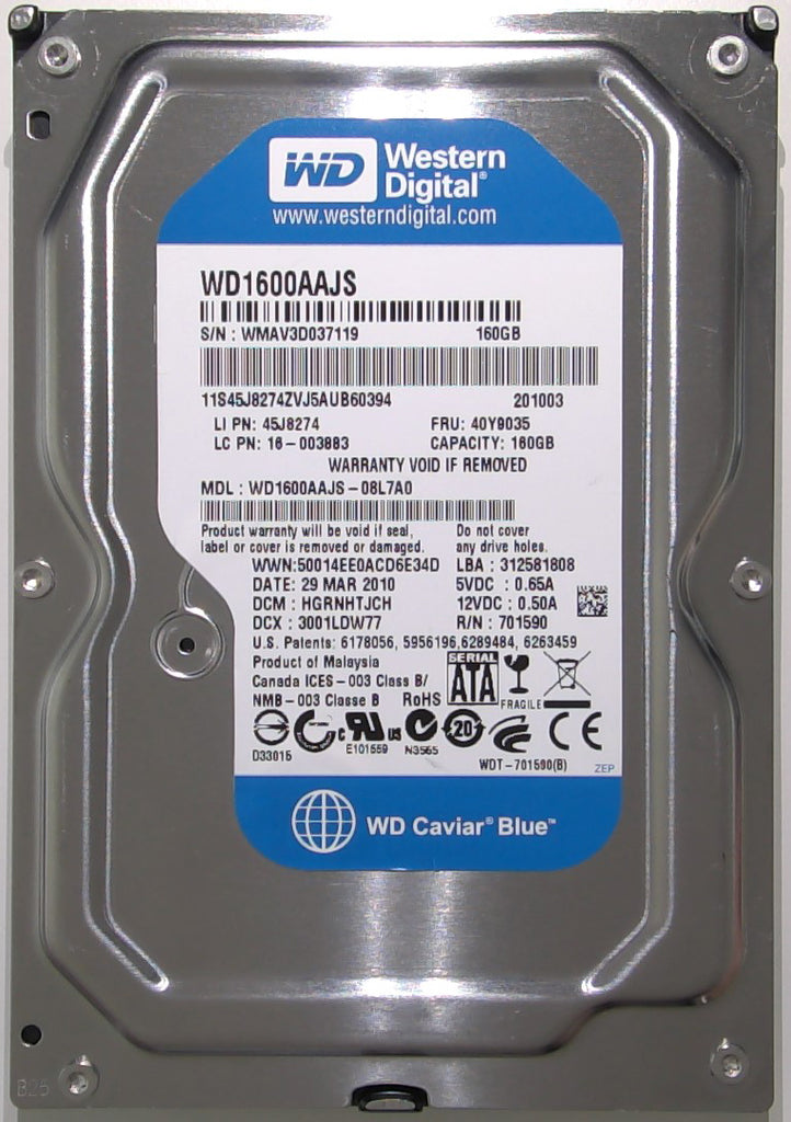 Western Digital WD1600AAJS-08L7A0, HGRNHTJCH, Malaysia, 160GB, 2060-701590-001 REV A, 3.5'' Hard Drive with Bad Sectors