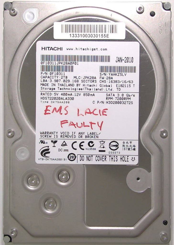 Hitachi HDS722020ALA330, 0F10311, JPK28A, 28A, 110 0A90201 01, 2TB, 3.5'' SATA Hard Drive with Bad Sectors